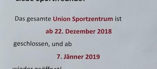 Weihnachtspause in der Sportunion!