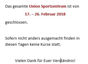 Semester-Pause in der Union!
